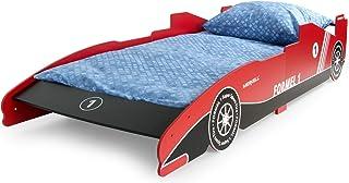 Leomark Individual Cama Infantil de Madera - Fórmula 1 Sport - Color Rojo, con somier, colchón, para niños, Moderno y Elegante Dormitorio, Espacio para Dormir: 200/90 cm