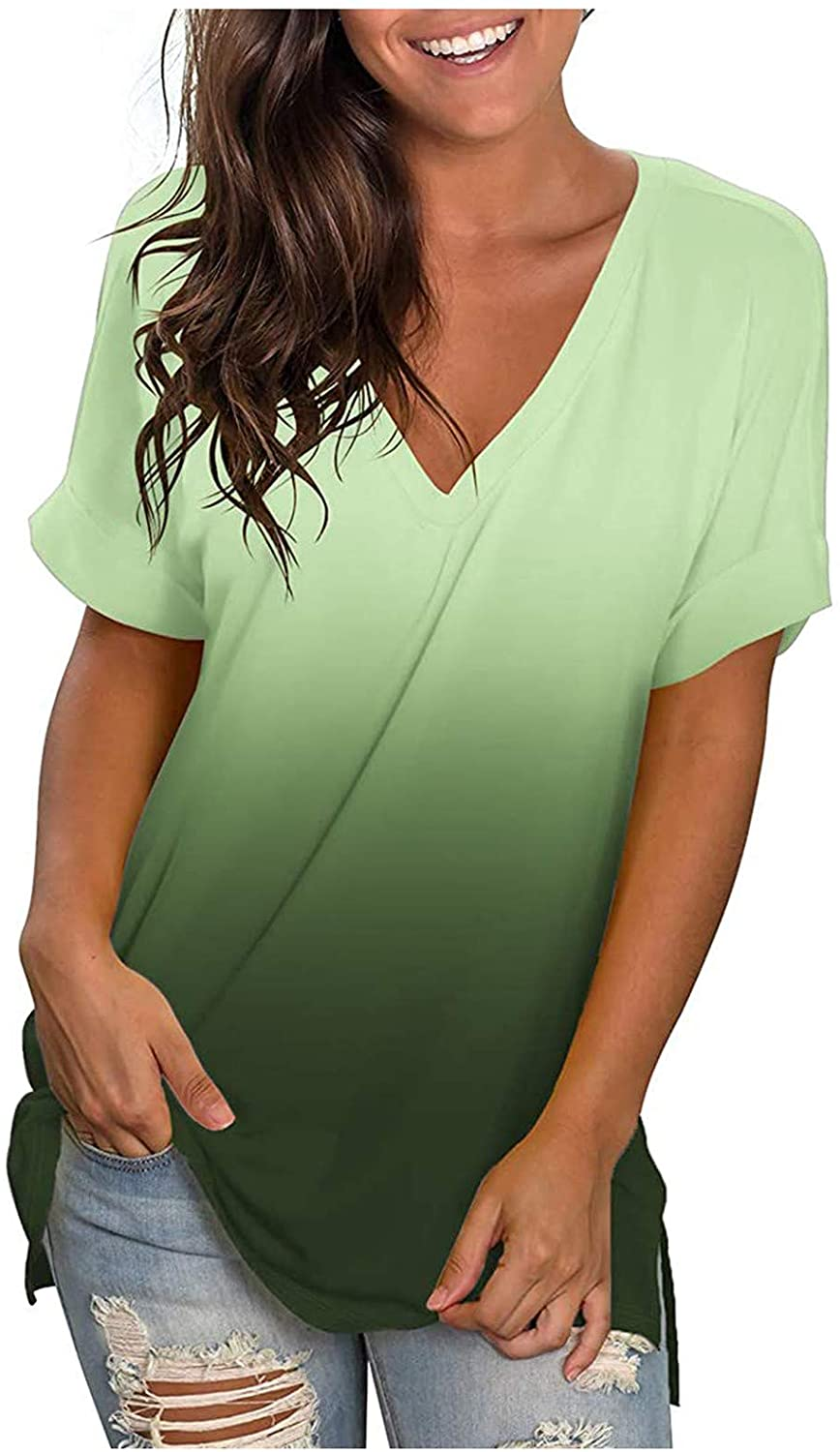 Summer Tops for Women Short Sleeve, Women's V Neck Short Sleeve T Shirts with Pocket Drop Tail Hem Relaxed Fit Tees