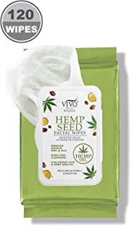 Vivo Per Lei Hemp Face Wipes for Oily Skin - Facial Cleansing Wipes with Hemp Seed Oil - Invigorating Wet Wipes for Face - Makeup Remover Wipes with Hyaluronic Acid and Aloe Vera - Pack of 120