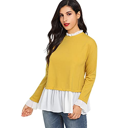 6a7c5fbc3e61 SheIn Women's Casual Mock Neck Colorblock Heather Knit Sweatshirt