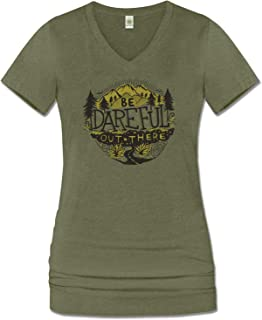 Soul Flower Women`s Be Dareful Out There Organic Cotton Recycled Short Sleeve T-Shirt, Ladies Long Green V-Neck Graphic Tee