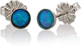 Borchie in argento sterling opale blu 4mm post orecchini orecchino Blu chiaro