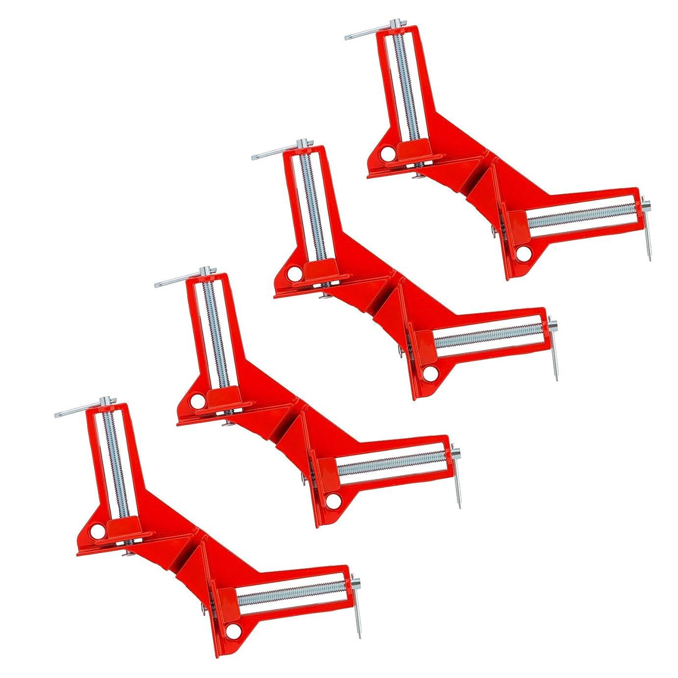 剥離感謝する退屈GWHOLE クランプ コーナー 4個 セット 90° 直角 木工定規 直角定規 固定板幅 75mm以下