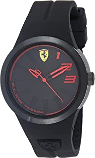 Ferrari Men's Quartz Watch, Analog Display and Silicone Strap 840016, Black Band