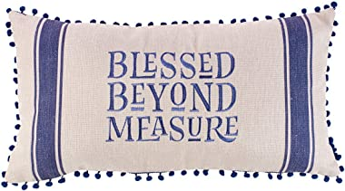 Christian Art Gifts Decorative Throw Pillow | Blessed Beyond Measure | Embroidered Tan Couch Pillow and Inspirational Home De