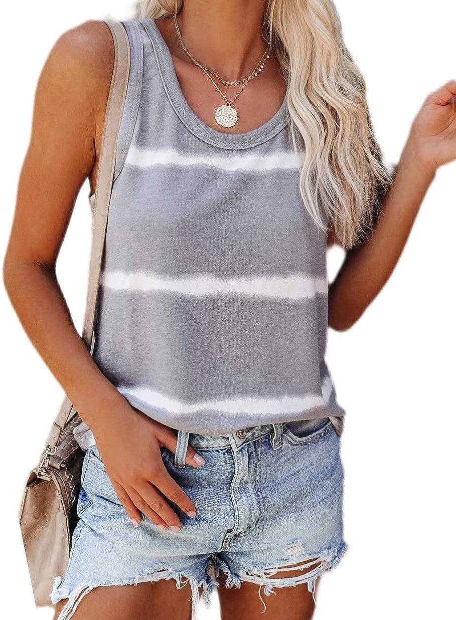 Aoysky Women's Casual Scoop Neck Tank Tops Tie Dye Sleeveless Summer Loose Tops Tees