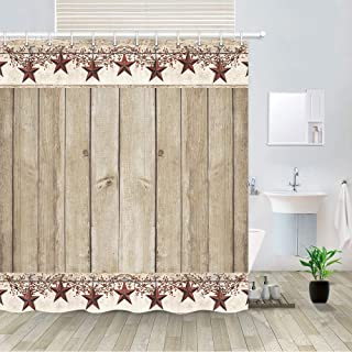 Rusitc Wood Boards Shower Curtain, Western Texas Star and Primitive Berries on Country Wooden Plank Bath Curtains, Polyester Fabric Bathroom Country Barn Farmhouse Shower Curtain 12PCS Hooks, 69X70IN