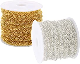 IPOTCH 30ft/Roll Diameter 2mm Iron Metal Chains Bulk Necklace Components Gold Silver Color Open Link Chain For DIY Jewelry Making Supplies