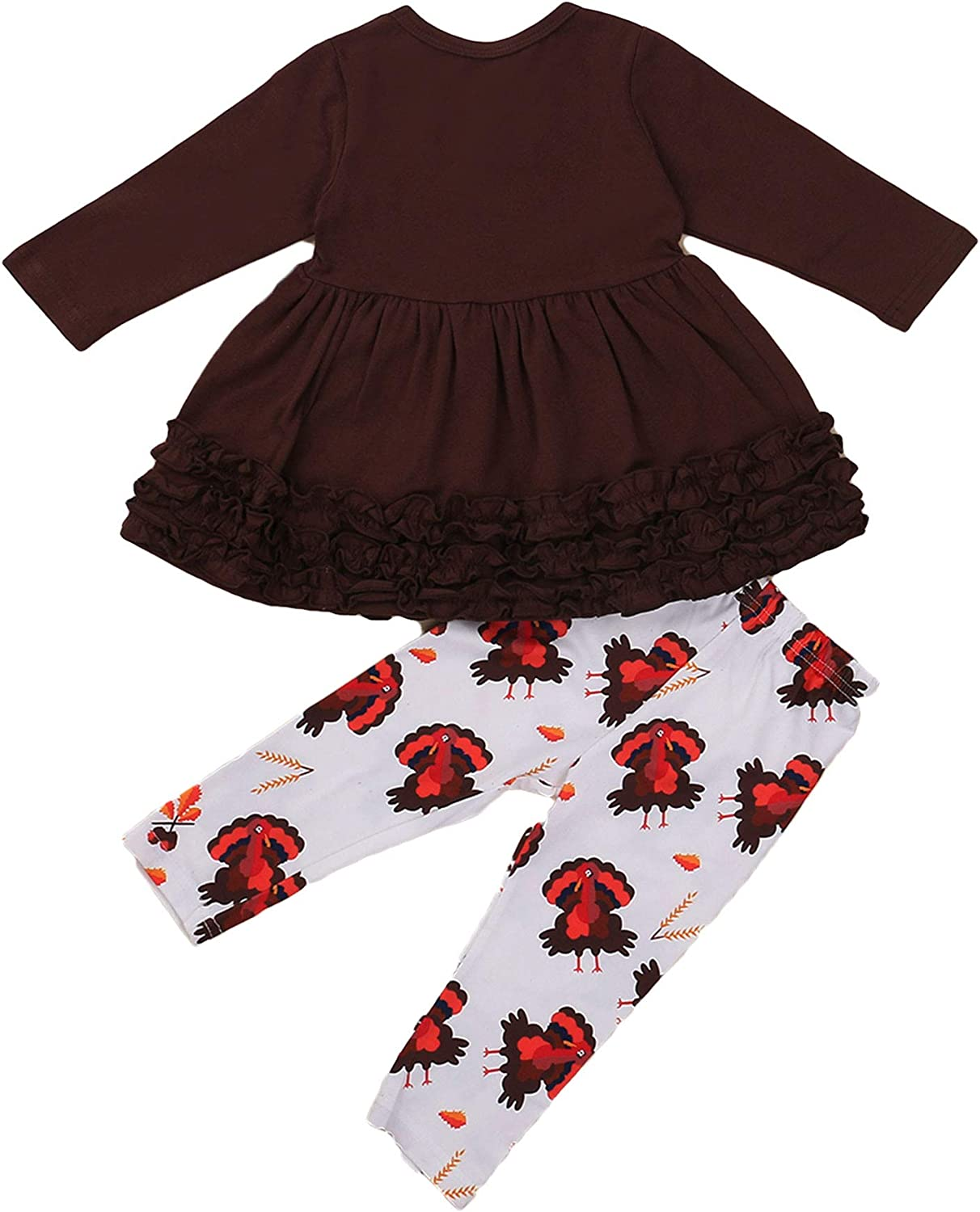 Toddler Baby Girl Clothes Long Sleeve Ruffle Flare Tunic Tops Leggings Pants Spring Clothes Set