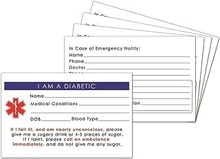 5-Pack Diabetic Medical Alert ID Wallet Card Emergency 2.15 * 3.35 inch (5)