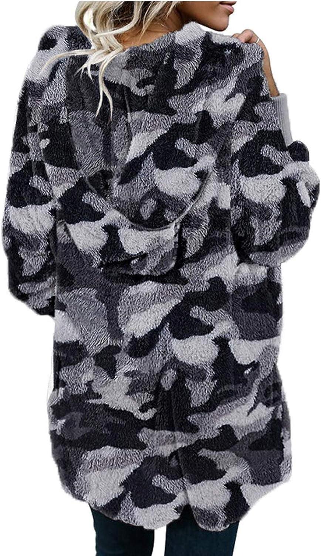 Lazzboy Wintermantel Damen Faux-fur Shaggy Langarm Open Front Outwear Hooded Jacket Revers Faux Für Lose Tasche Winterjacke Coat Mantel Damen Winter Grau