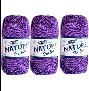 3X Nature Cotton Purple Colour No.513 Crochet and Knitting Yarn