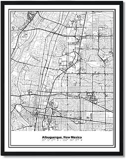 Susie Arts 11X14 Unframed Albuquerque New Mexico Metropolitan City View Abstract Street Map Art Print Poster Wall Decor V306