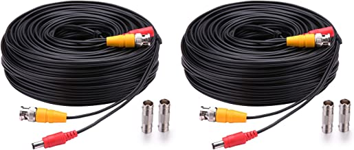 WildHD 2x150ft All-in-One Siamese BNC Video and Power Security Camera Cable BNC Extension Wire Cord with 2 Female Connetors for All Max 5MP HD CCTV DVR Surveillance System (150ft 2pack Cable, Black)
