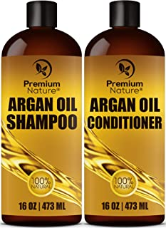 Champú orgánico de aceite de argán de 16 oz y acondicionador de aceite de argán de 16 oz, sin sulfato, Premium Nature Combo de reparación del cabello, juego de 2 de Premium Nature