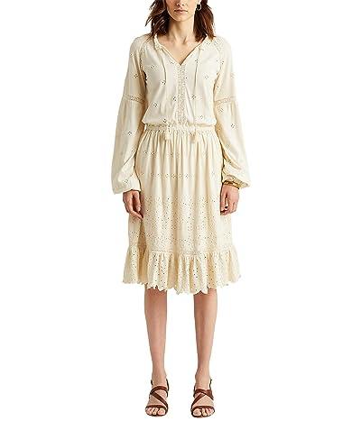 LAUREN Ralph Lauren Eyelet Jersey Dress