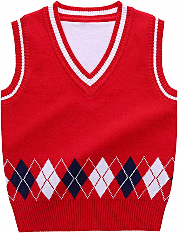 JanJean Kids Girls Boys Argyle Sweater Vest Vintage V Neck Loose Sleeveless Sweater School Uniform Waistcoat for 1-7 Years
