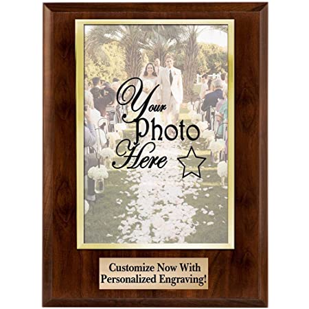 Crown Awards Personalized Photo Plaques - Vertical Slide-in Photo Frame Plaque Gift with Custom Engraving, Holds 5x7 Photo Prime
