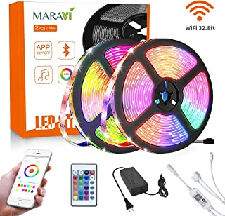 LED Strip Lights, Maravi 32.8ft/10M Waterproof RGB WiFi LED Light Strip 5050SMD Color Changing LED Strip Lights with Remote, Sync to Music RGB Rope Light with Alexa & APP Controller for Home DIY