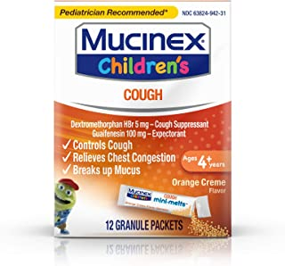 Mucinex Children's Chest Congestion Expectorant and Cough Suppressant Mini-Melts, Orange (Packaging May Vary) (Pack of 2)
