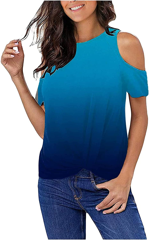 Womens Gradient Kink T-Shir Cold Shoulder Short Sleeve Tops Summer Casual Loose Off Shoulder Tunics Blouses