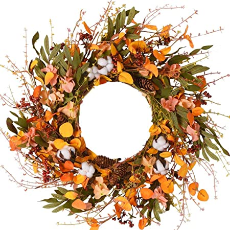 Wanna Cul 24 Inch Blossom Silk Fall Wreath For Front Door With Hydrangea Floral Cotton Pine Cone Berries Eucalyptus And Olive Leaves Harvest Door Wreath For Fall And Thanksgiving Decorations Home Kitchen