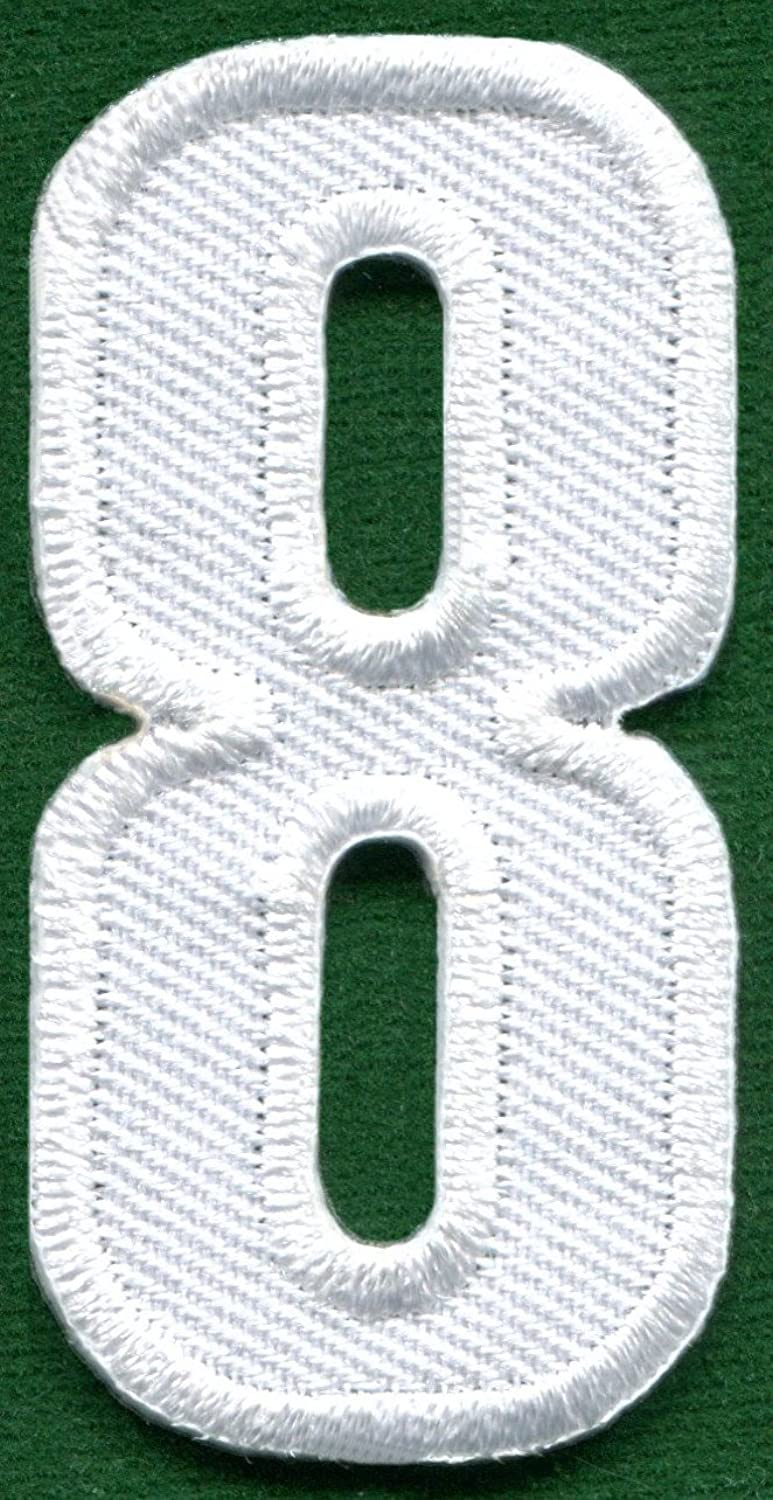 Number 8 numeral math counting # eight school white embroidered applique iron-on patch new