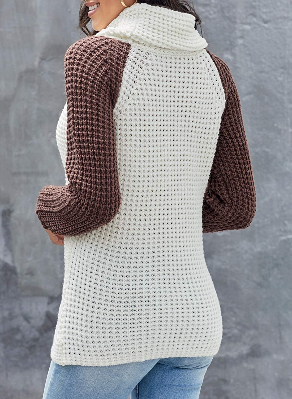 Aleumdr Women's Winter Long Sleeve Turtle Crewneck Sweater Asymmetrical Button Pullover Knit Sweaters Jumper Tops(S-XXL)