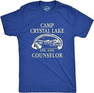Mens Camp Crystal Lake T Shirt Funny Graphic Camping Vintage Adult Novelty Tees, Blue, Large