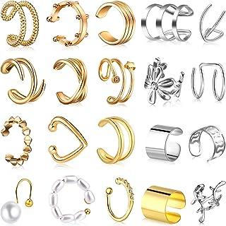 20 قطعة الأذن الكفة الحلزون كليب على التفاف غير أقراط قابل للتعديل وهمية الأنف خاتم للنساء عيد الحب الأذن مجوهرات