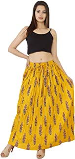 Cotton Wrinkled Long Skirt Yellow