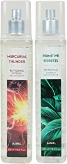 Ajmal Mercurial Thunder & Primitive Forests EDT Combo pack of 2 each 250ml (Total 500ML) for Men & Women + 4 Parfum Testers