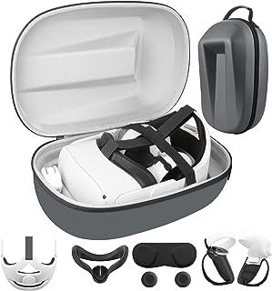 Accessoires VR pour Oculus Quest 2 (étui+Sangle de Tête+2 * Cover du Contrôleur+2*Capuchons de Pouce+Couvercle d'objectif+...