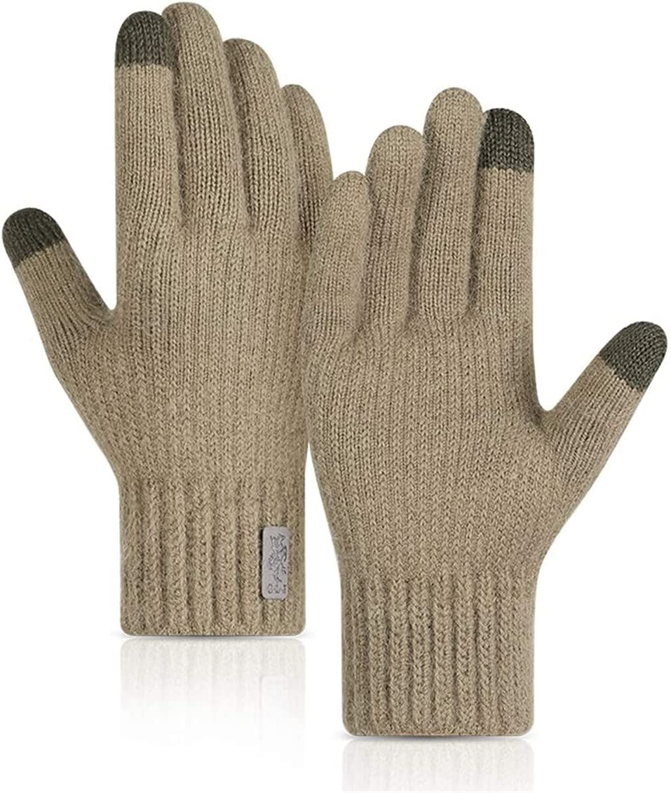 RSQJ Knitted Touch Screen Gloves for Men and Women Outdoor Gloves for Autumn and Winter Riding Plus Velvet Thick Windproof and Warm Alpaca Gloves (Color : Camel, Size : X-Large)