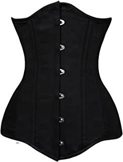 Women's 26 Steel Boned Cotton Long Torso Hourglass Body Shaper Corset