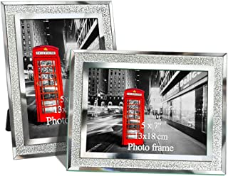 Amazing Roo 5x7 Mirrored Edged Glass Photo Frame Silver Bling Glitter Picture Frame Set of 2
