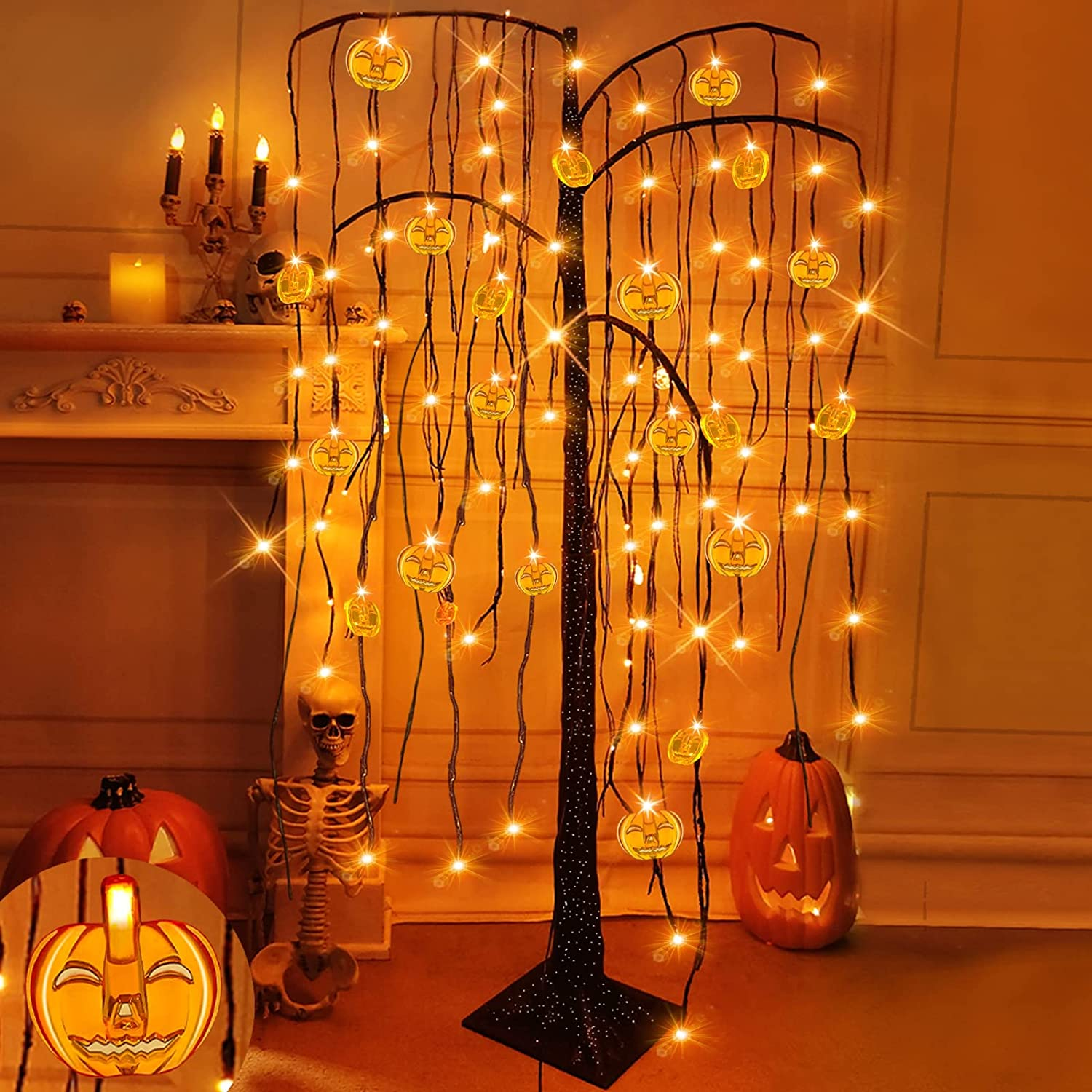 TURNMEON 5 Ft Halloween Tree Decorations with Timer 84 LED and 24 Pumpkins Lights, Scary Willow Branches Black Tree,Halloween Decor Outdoor Indoor Home Yard Garden Party(Timer/Adapter/4 Ground Stakes)