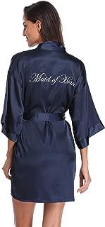 Women's Silky Bride Bridesmaid Kimono Robes Short Getting Ready Robe with Gold Glitter