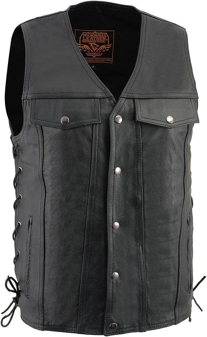 Milwaukee Leather LKM1360 Men's Black Leather Vest with Side Laces - 4X-Large