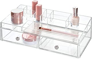 InterDesign 2 drawer Cosmetic Organizer for Vanity Cabinet To Hold Makeup, Beauty Products - Clear