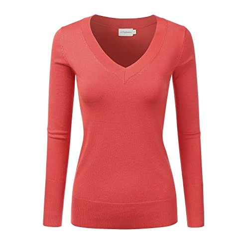 897d7a7f49 JJ Perfection Women s Simple V-Neck Pullover Soft Knit Sweater