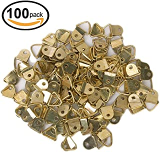 GCA Small Triangle D-Ring Picture Frame Hangers Single Hole with Screws ,Golden (100pcs)