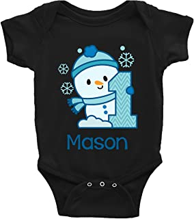 Baby Boys' Snowman 1st Birthday Outfit or Shirt   Personalized with Any Name