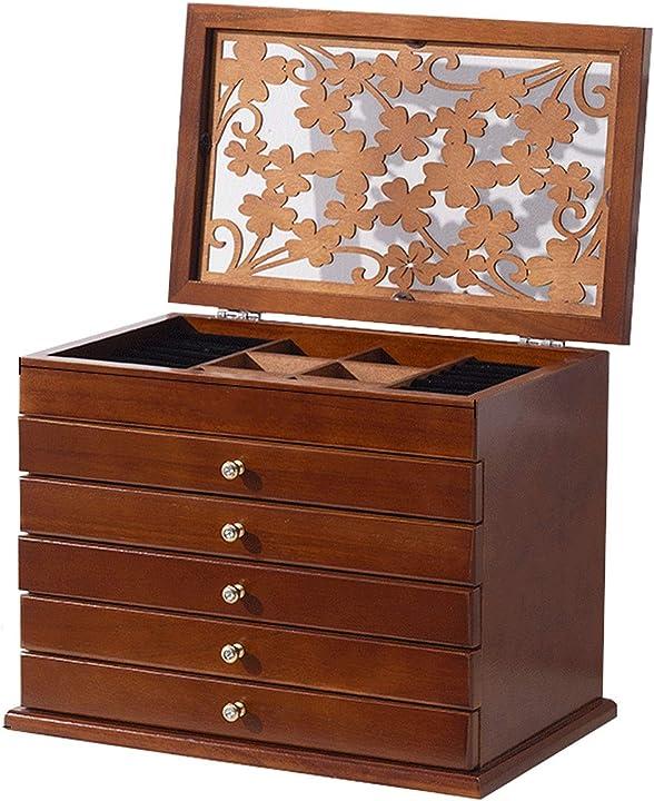 Portagioielli 6 strati di legno gioielli con specchio, coperchio a fogli mobili e 5 scompartimento di cassetti B08MKQVSNP