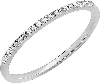 Dazzlingrock Collection 0.08 Carat (ctw) Round White Diamond Ladies Anniversary Wedding Stackable Band Ring, 14K Gold