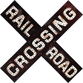 Open Road Brands Railroad Crossing Prismatic Embossed Metal Sign