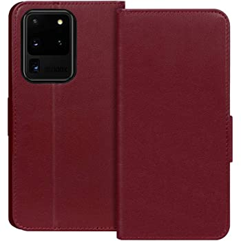 """FYY Case for Samsung Galaxy S20 Ultra 5G 6.9""""Luxury [Cowhide Genuine Leather][RFID Blocking] Wallet Handmade Flip Folio Case with [Kickstand Function]and[Card Slots] for Galaxy S20 Ultra 6.9"""" Wine Red"""