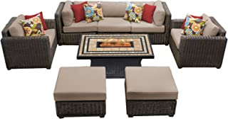 TK Classics VENICE-08d 8 Piece Venice-08D Outdoor Wicker Patio Furniture Set, Wheat