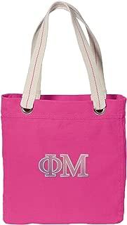 Broad Bay Phi Mu Sorority Tote Bag Rich Dye Washed Pink Cotton Canvas