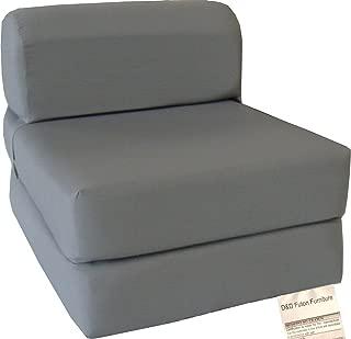 D&D Futon Furniture Gray Sleeper Chair Folding Foam Bed Sized 6 X 32 X 70, Studio Guest Foldable Chair Beds, Foam Sofa, Couch, High Density Foam 1.8 Pounds